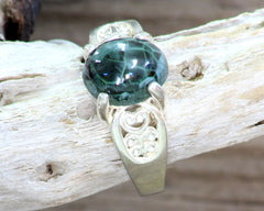 10mm x 8mm Greenstone ring with Filigree setting #220