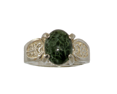 10mm x 8mm Greenstone ring with Filigree setting #201