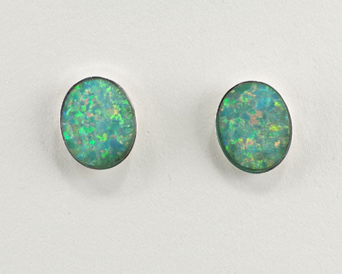 8x10mm Oval green lab created Opal earrings