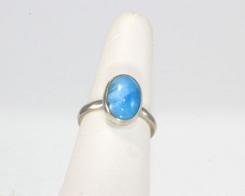 14 x 10 mm Larimar bezel set ring