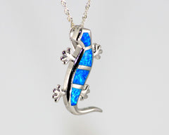 Gecko shaped lab created opal pendant