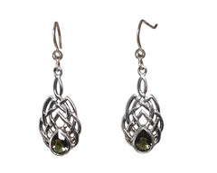 Teardrop Moldavite dangle earrings