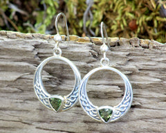 7 mm Moldavite earrings in winged settings