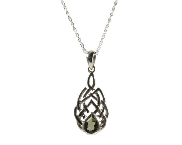 Teardrop Moldavite Scroll Setting Pendant