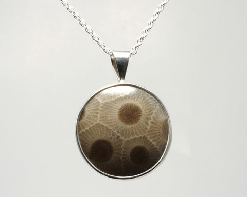 20mm Petoskey Stone Pendant