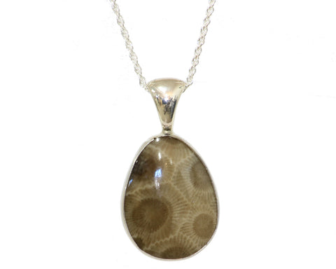 23x19mm Petoskey Stone Pendant with open bezel set