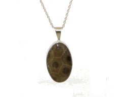 25x15mm Petoskey Stone Pendant with bezel set