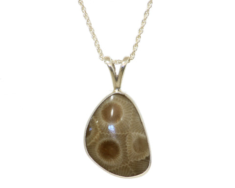 22x17mm Petoskey Stone Pendant with open back bezel set