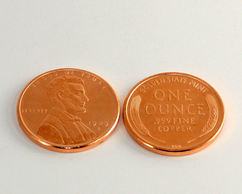 1 oz Copper Coin in Wheat Penny design