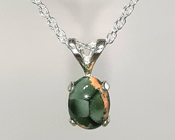 8x6mm Greenstone with Pink Prehnite Pendant