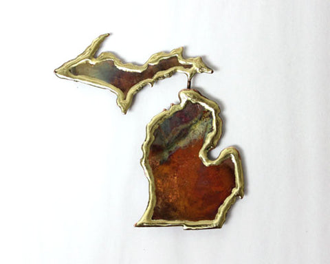 Copper Art Full Michigan Magnet