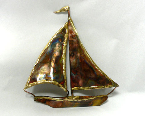 Small Copper Art Sailboat