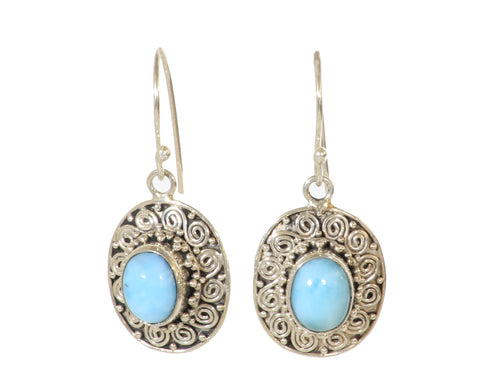 9mm x 7mm Oval Larimar Earrings