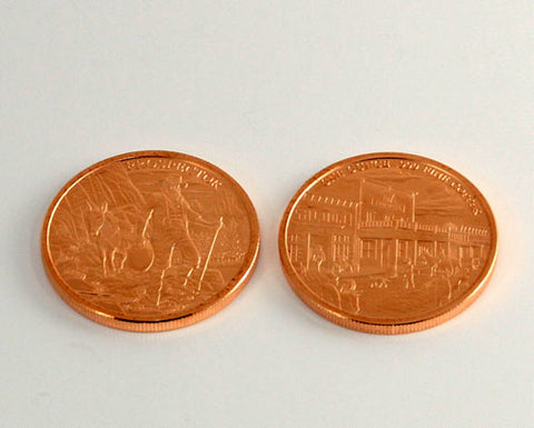 1 oz Copper Coin in Prospector design