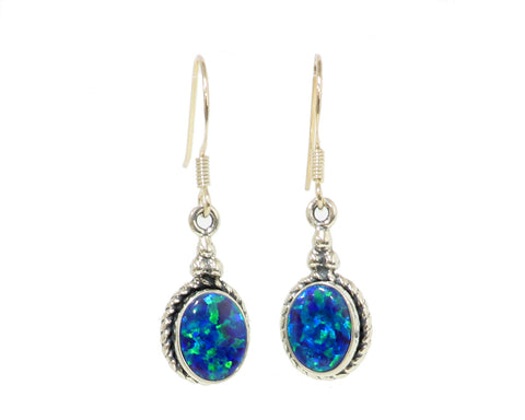 Oval Bezel set Earrings with blue lab created opal