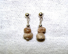 Petoskey Kernel Earrings - Two stone