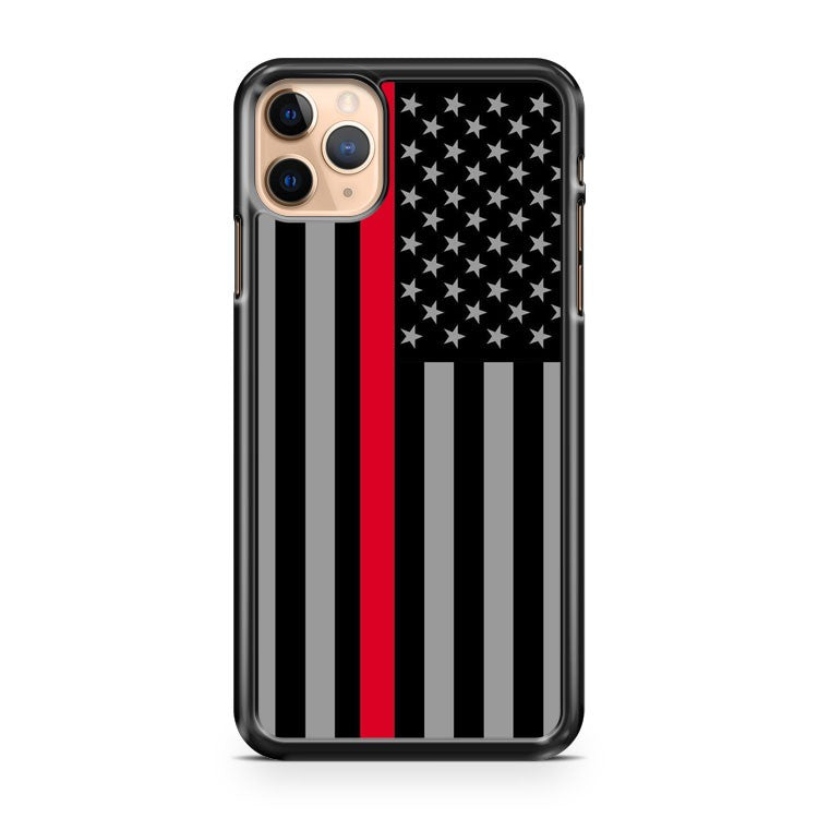 AMERICAN FLAG THIN RED LINE FIREFIGHTER 3 iPhone 11 Pro Max Case Cover | CaseSupplyUSA