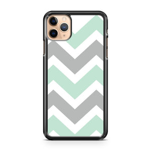 Mint And Gray Chevron 3 iPhone 11 Pro Max Case Cover