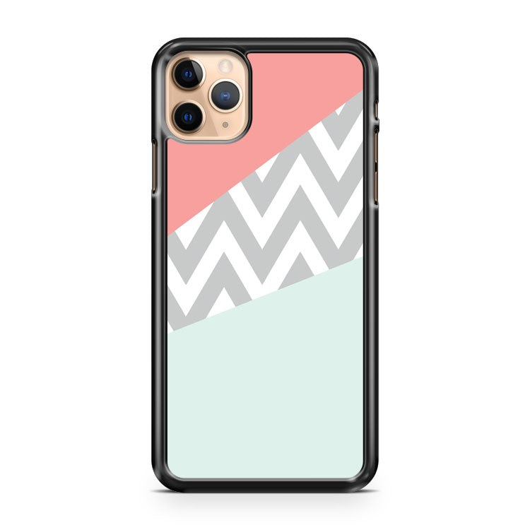 Mint And Coral Chevron Block iPhone 11 Pro Max Case Cover
