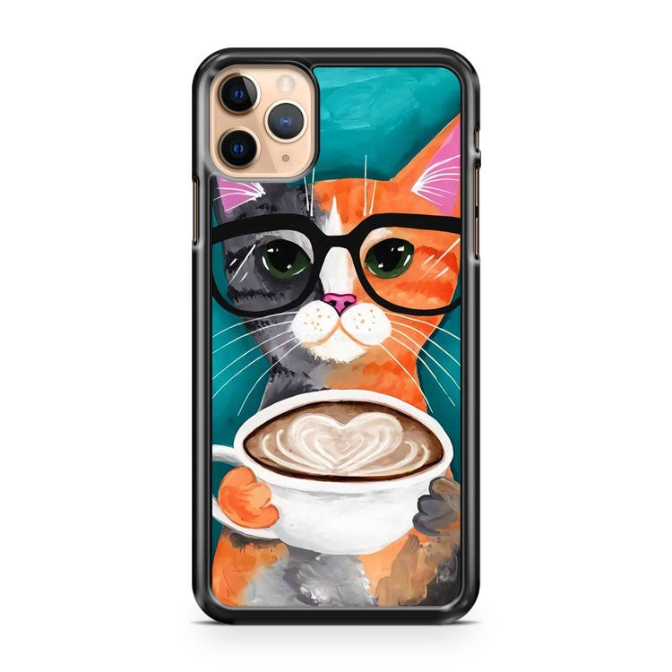 cat drinking coffee painting Art iPhone 11 Pro Max Case Cover | CaseSupplyUSA