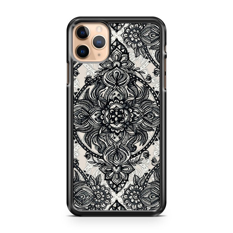 Charcoal Lace Pencil Doodle iPhone 11 Pro Max Case Cover | CaseSupplyUSA