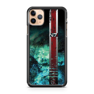 N7 Battle Damaged Galaxy Armor Stripe iPhone 11 Pro Max Case Cover