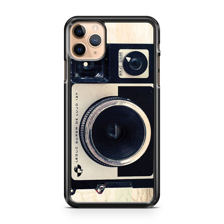 Retro Vintage Pastel Camera on Beige Pattern Map Background iPhone 11 Pro Max Case Cover