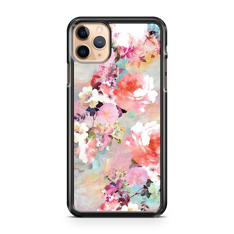 Romantic Pink Teal Watercolor Chic Floral Pattern 2 iPhone 11 Pro Max Case Cover