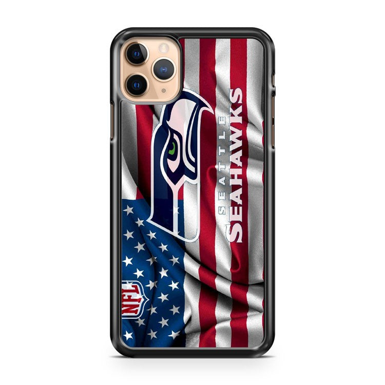 Seattle Seahawks Logo American Flag iPhone 11 Pro Max Case Cover