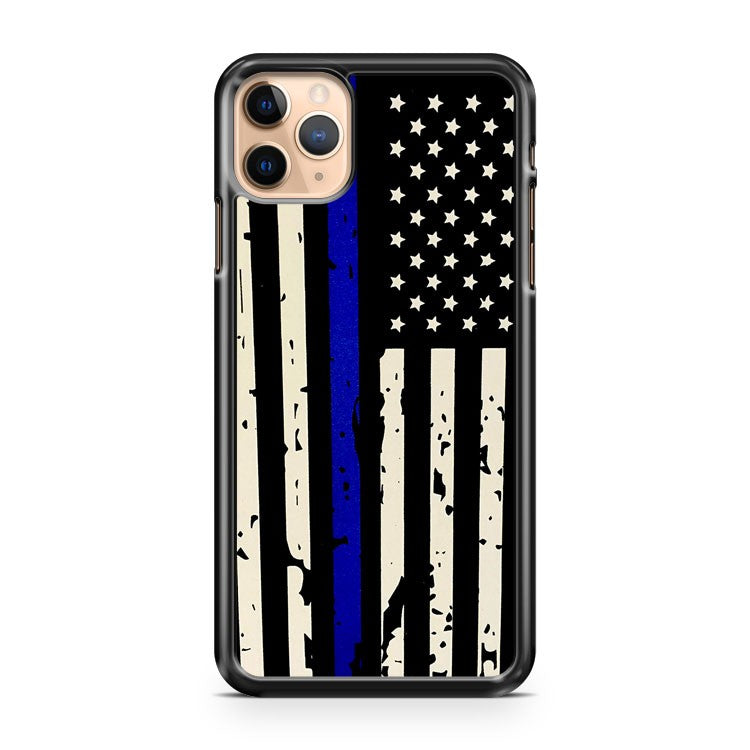 AMERICAN FLAG POLICE BLUE THIN LINE USA iPhone 11 Pro Max Case Cover | CaseSupplyUSA