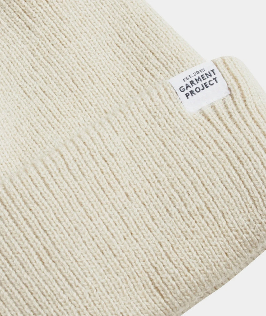 GARMENT PROJECT MAN GP Logo Unisex Beanie - Bone White Beanie 111 Bone White