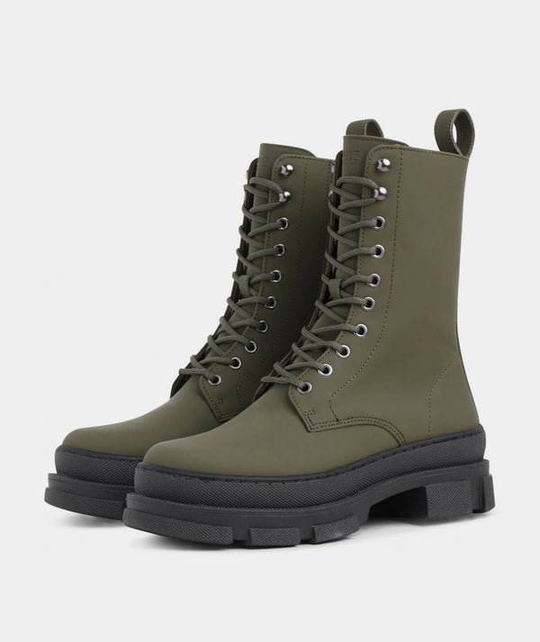 Lucy Boot - Army Rubberised Leather