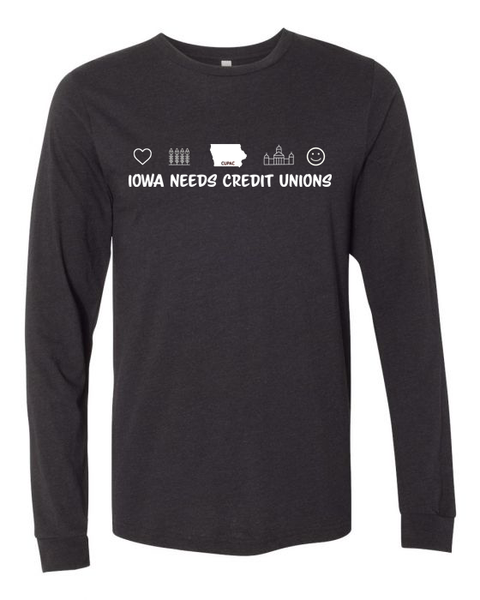 "Long Sleeve T-Shirt ""Iowa Needs Credit Unions"" (Black Heather)"