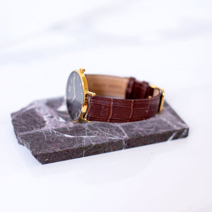 Monogrammed Brown & Yellow Gold Crocodile Strap