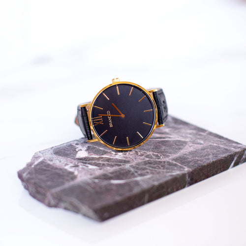 Black/Gold Crocodile Strap