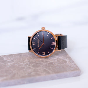 Monogrammed Black & Rose Gold