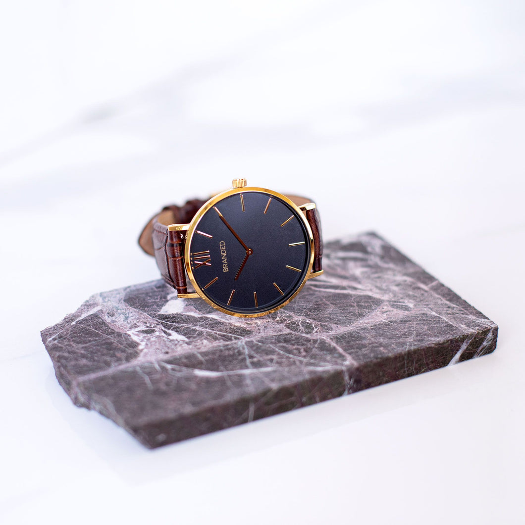 Brown/Gold Crocodile Strap