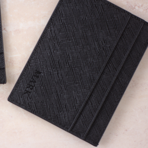 Monogrammed Black Leather Card Holder