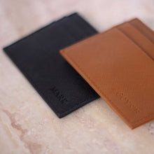 Load image into Gallery viewer, Monogrammed Black Leather Card Holder