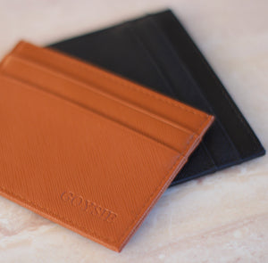 Monogrammed Brown Leather Card Holder