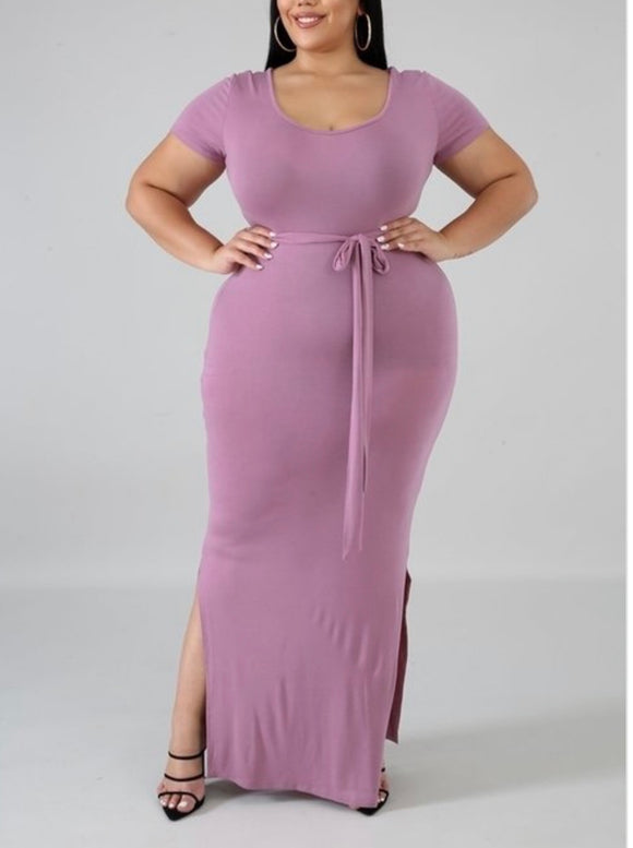 Mauve Maxi Dress-CURVY