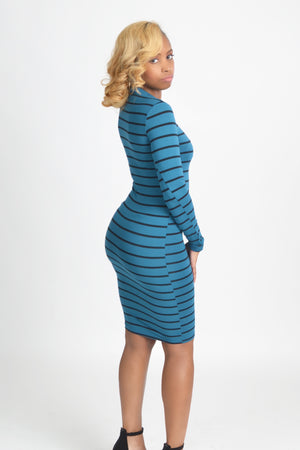 Teal Stripped Midi Dress