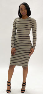 Gray Stripped Midi Dress
