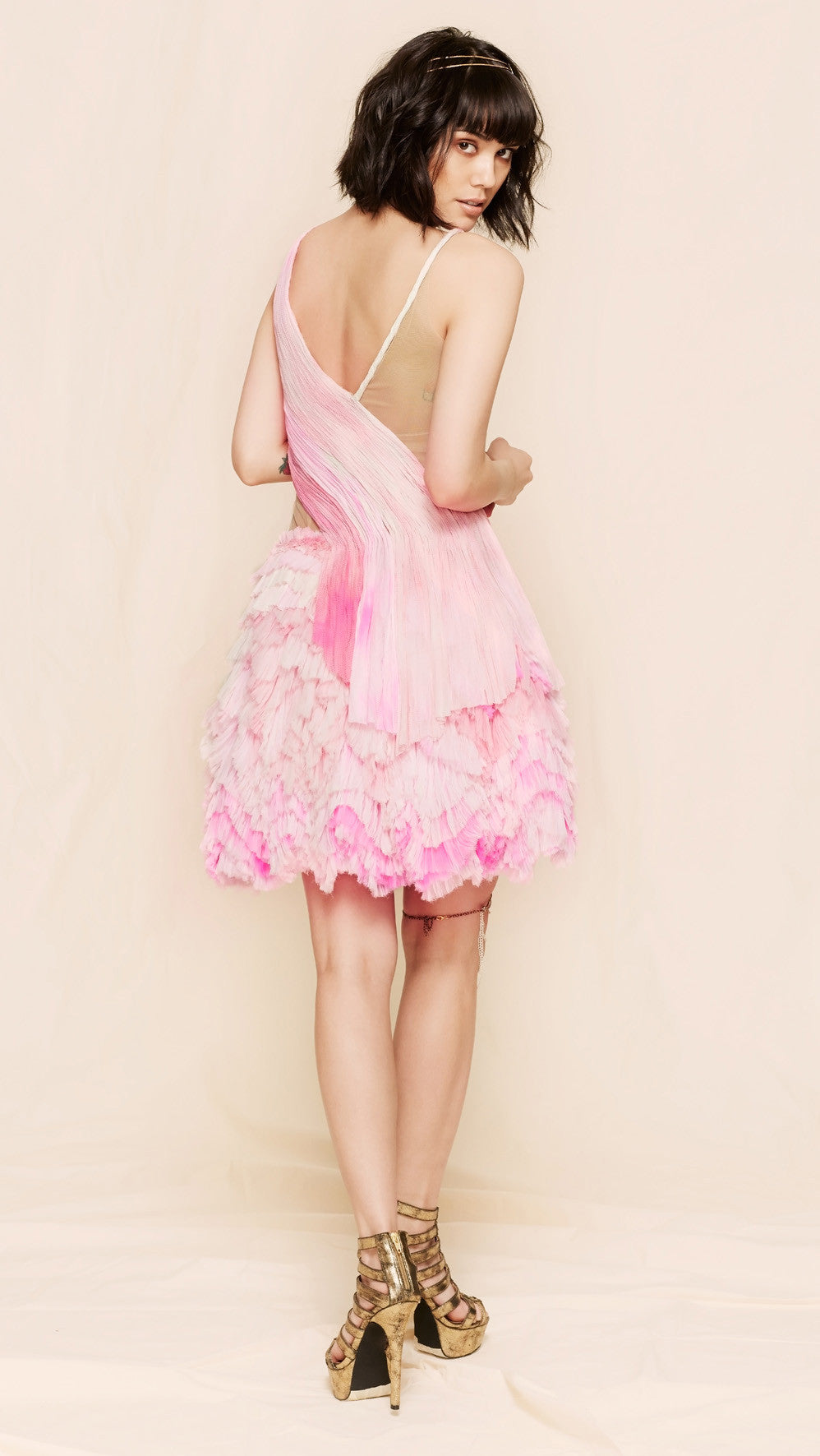oda - bubblegum pink frothy dress - back view