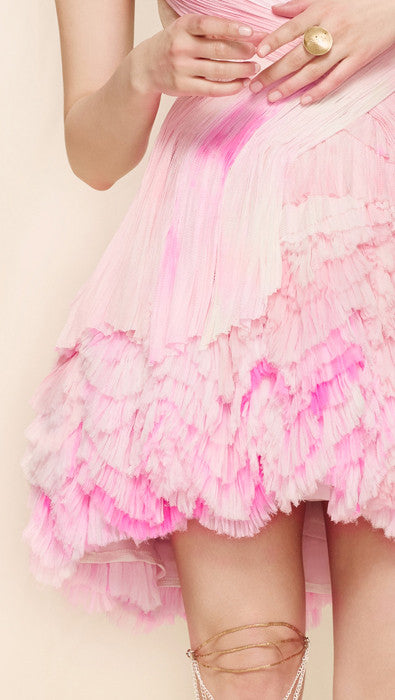 oda - bubblegum pink frothy dress - up close