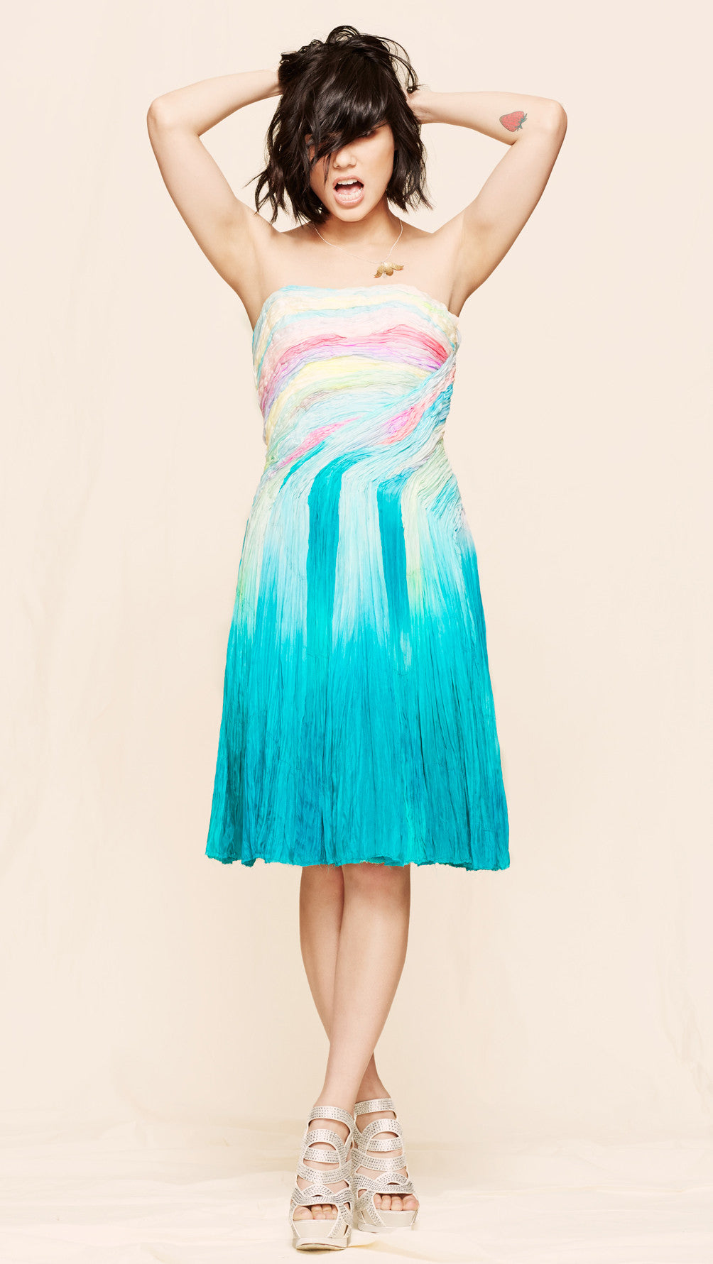 oda - cotton candy strapless dress - front view