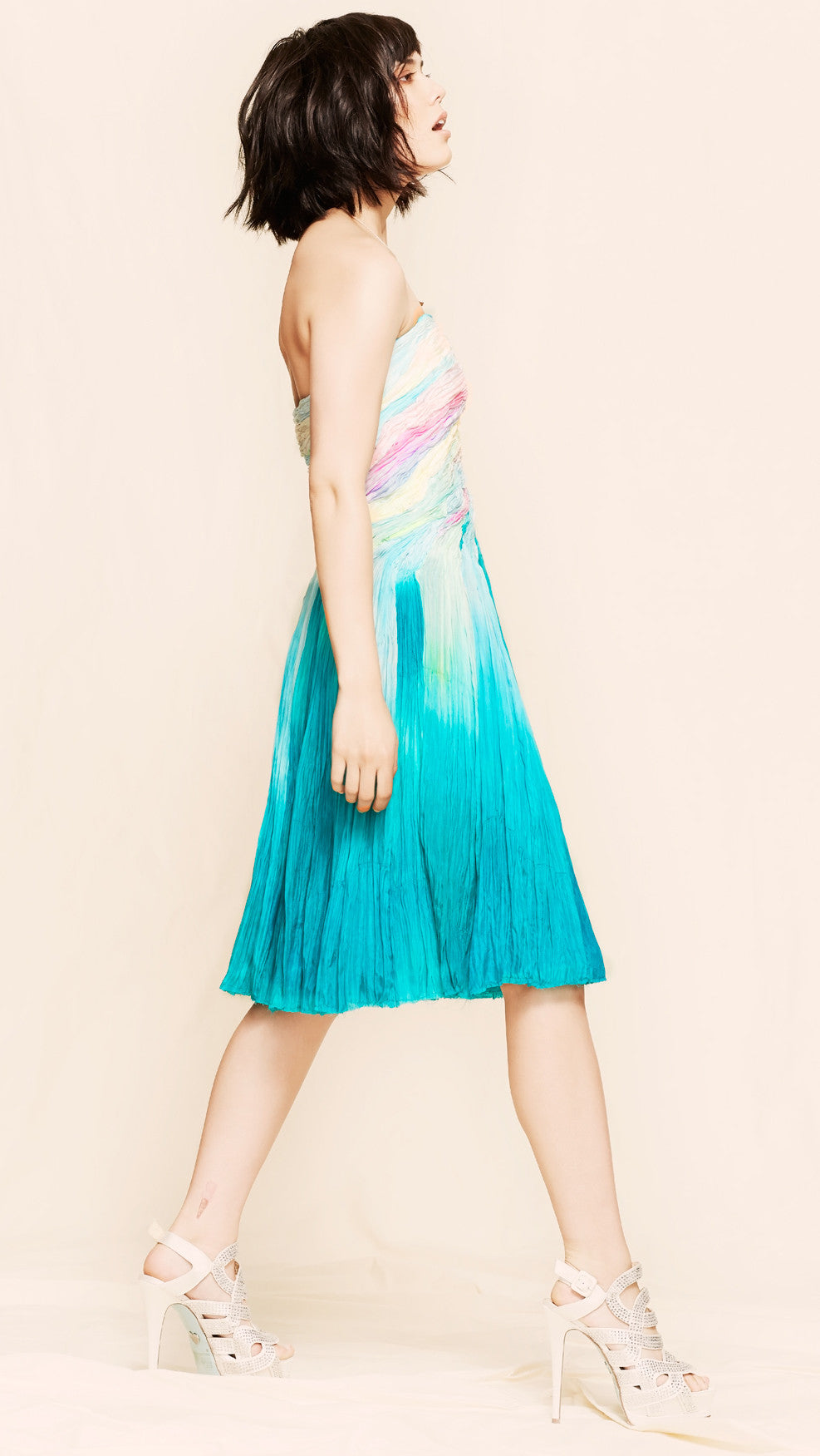 oda - cotton candy strapless dress - side view