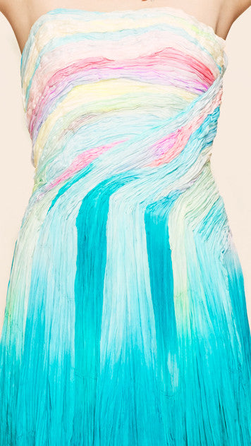 oda - cotton candy strapless dress - up close