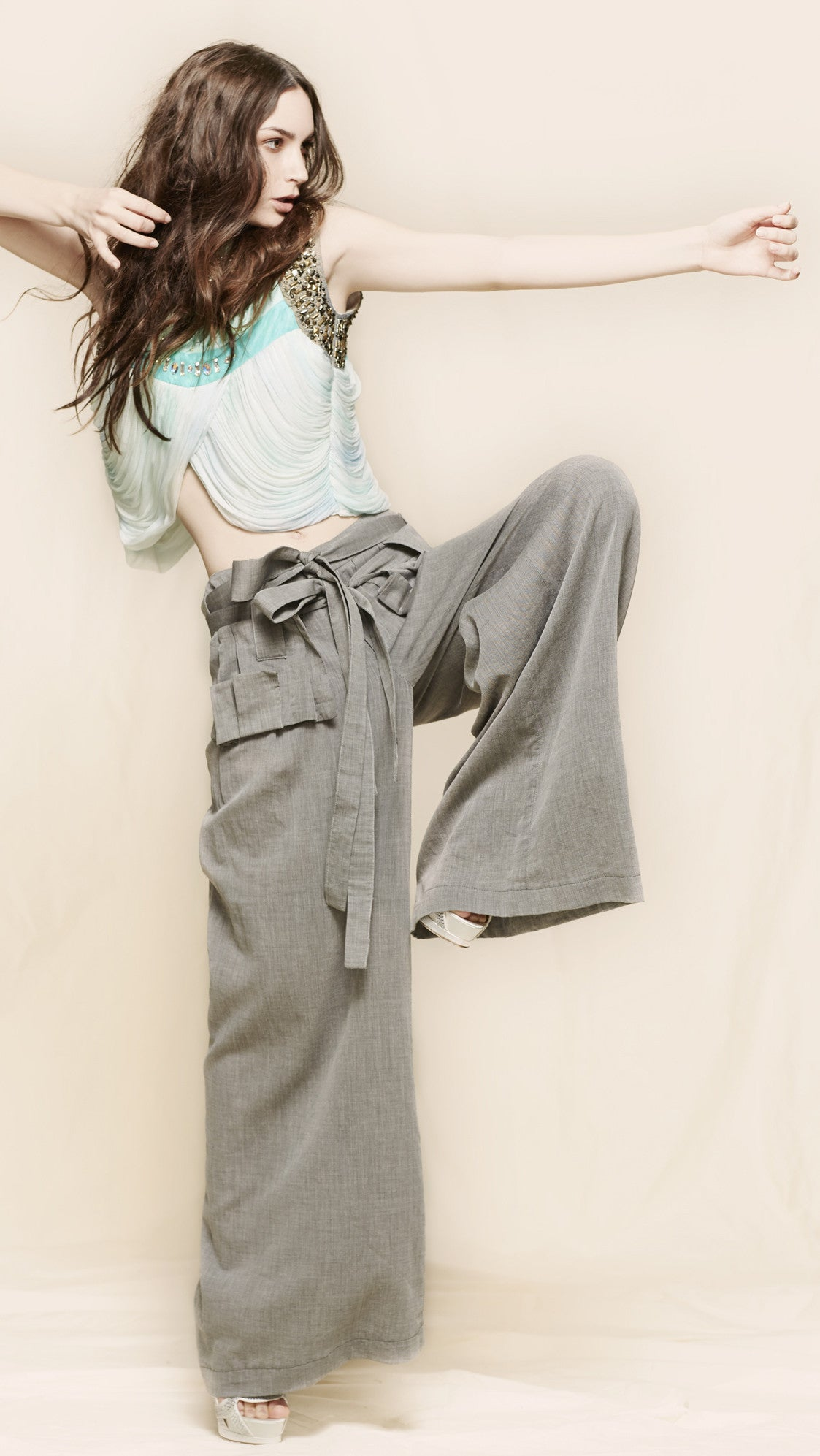 oda - sabriel tie front pant - front view