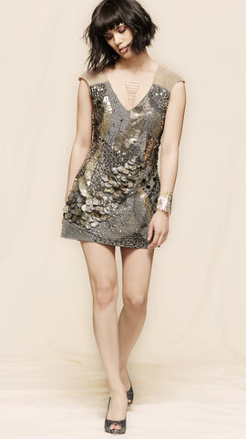 oda - rocker shift dress - front view